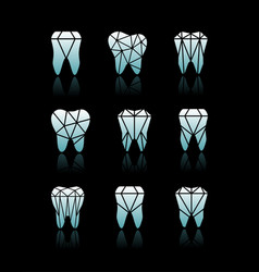 tooth symbol set vector image vector image