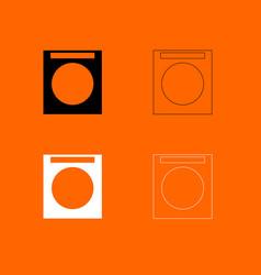 washing machine black and white set icon vector image