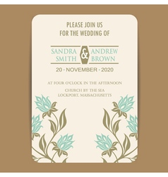 wedding invitation with vintage flowers vector image vector image
