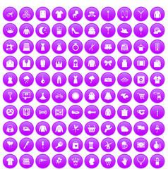 100 dress icons set purple vector image