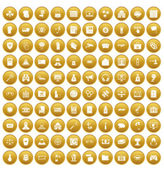 100 hacking icons set gold vector