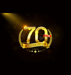 70 years anniversary with laurel wreath golden vector image