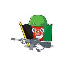 A mascot flag afghanistan scroll army vector