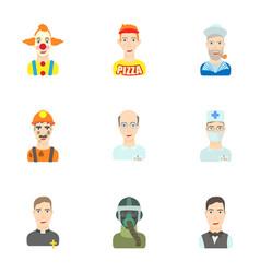 Activities icons set cartoon style vector