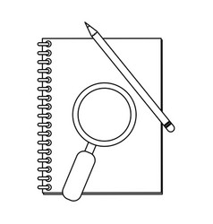 address book and magnifying glass with pencil vector image
