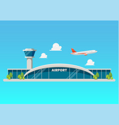 Airport building flat style vector