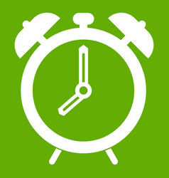 alarm clock icon green vector image