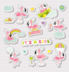 Baby girl stickers set for shower party vector