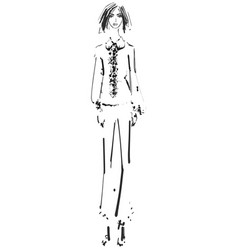 Beautiful young girl in the shirt and pants vector