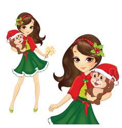 Brunette Christmas Girl With Monkey vector image