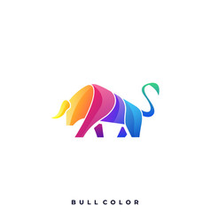 Bull color template vector