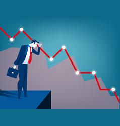Businessman looking at falling diagram economic vector
