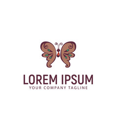 butterfly hand drawn logo design concept template vector image