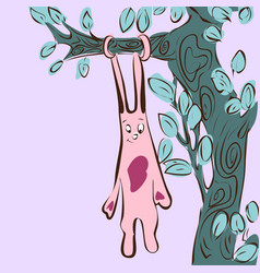 cartoon cute rabbit hanging on tree vector image