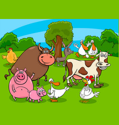 cartoon farm animal characters on meadow vector image