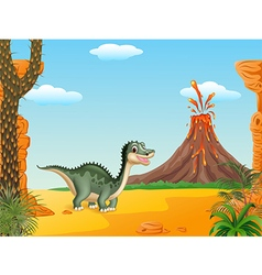 Cartoon funny dinosaur vector image