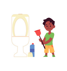 Cartoon kid cleaning a toilet - happy child vector
