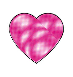 cartoon pink heart romantic love decoration symbol vector image