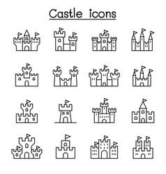 castle palace icon set in thin line style vector image