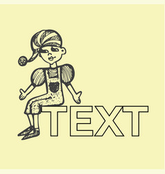 childrens toy doll character hand-drawn with text vector image