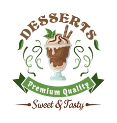 Chocolate ice cream with mint leaves retro badge vector