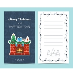 Christmas card on the front and inside Christmas vector image
