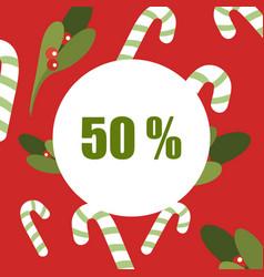 christmas sale 50 - mistletoe labels vector image