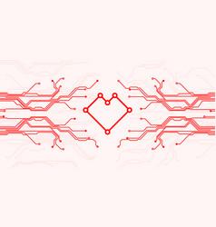 circuit board heart vector image
