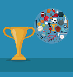 color background with golden cup trophy and icons vector image