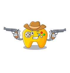 Cowboy modern game shaped controller cartoon wood vector