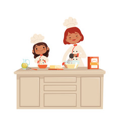 culinary workshop woman and girl on kitchen kid vector image