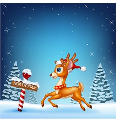 Cute baby deer running with a north pole wooden vector