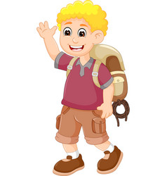 cute backpacker cartoon posing with laughing vector image