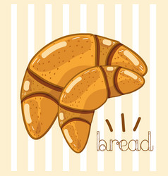 Delicious bakery croissant bread vector