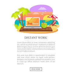 Distant work freelance web poster open notebook vector