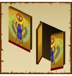 door in egyptian style with scarab image vector image