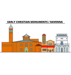 early christian monuments - ravenna line trave vector image