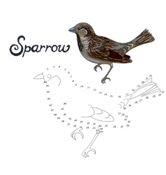 Educational game connect dots to draw sparrow bird vector