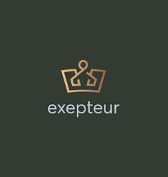 elegant crown premium logo luxury royal king vector image