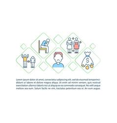 Escape consumerism concept line icons with text vector
