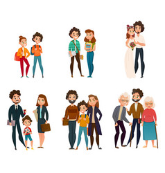 Family development stages vector