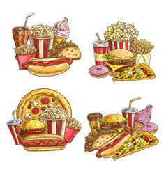 fast food takeaway meals and snacks sketch vector image