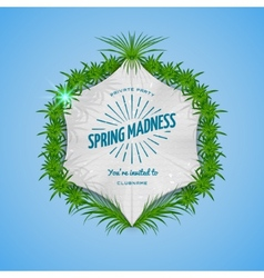Festival spring madness realistic badge vector