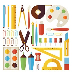 Flat Back to School Objects and Office Instruments vector