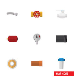 Flat icon plumbing set of corrugated pipe vector