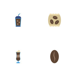 Flat icons mocha beverage arabica bean and other vector