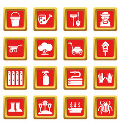 gardener icons set red square vector image