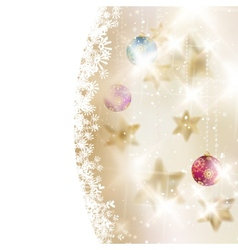Golden Lights and Stars Christmas Background vector image