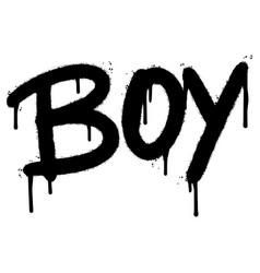 graffiti boy word sprayed isolated on white vector image