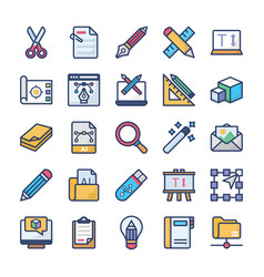 Graphics designing icons set vector